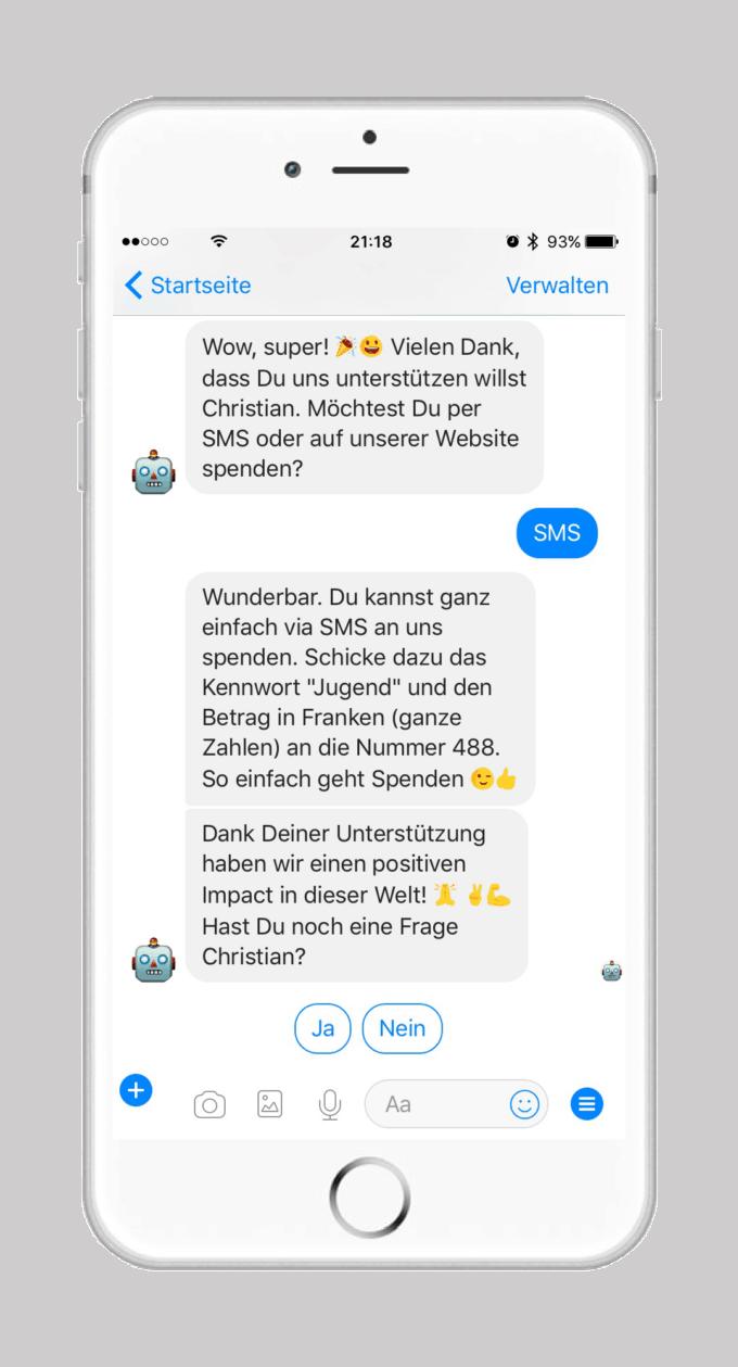 Chatbot Roboterre von terre des hommes schweiz - Spenden