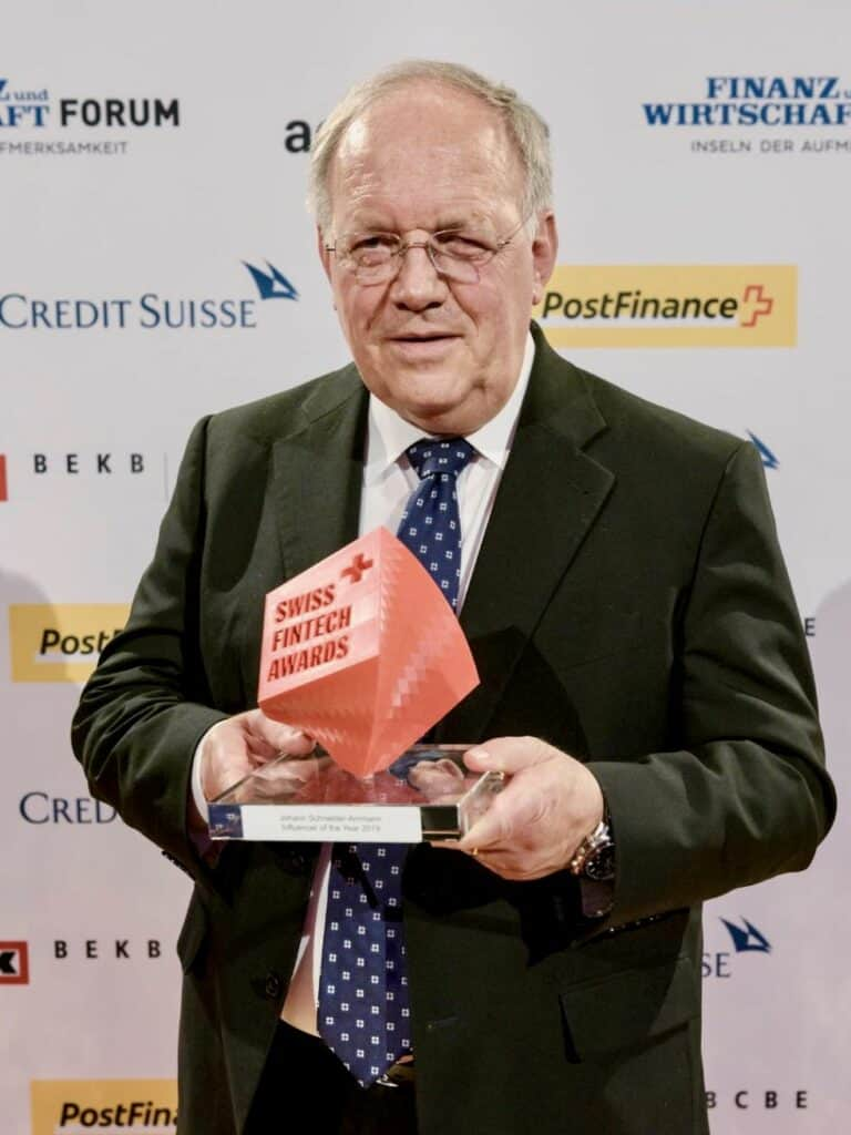 """Johann Schneider-Amman """"Swiss FinTech Influencer 2019"""" - Swiss FinTech Awards"""